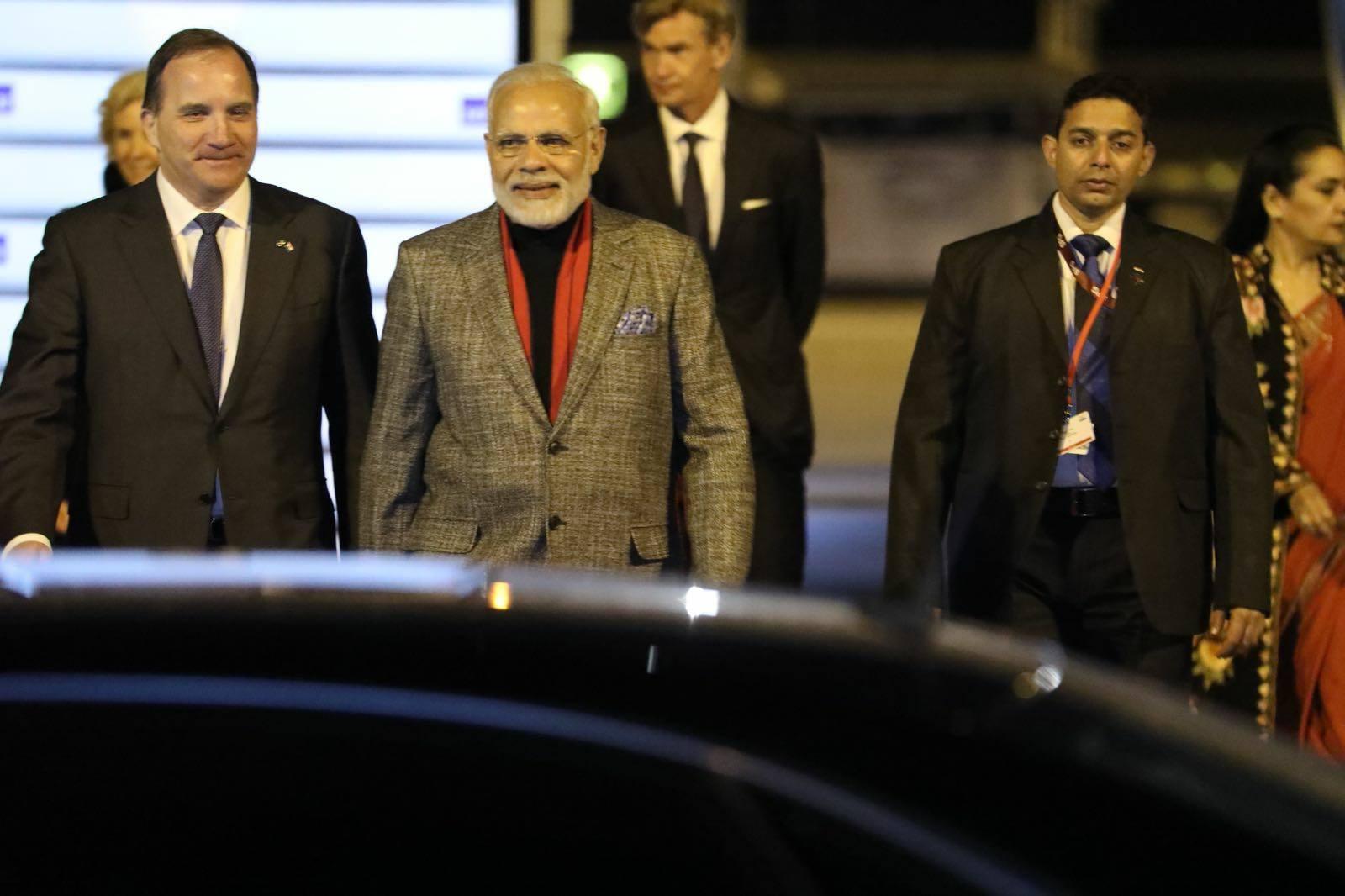 Prime Minister Narendra Modi welcomed by Swedish Prime Minister Stefan Lofven on arrival at the Arlanda Airport in Stockholm