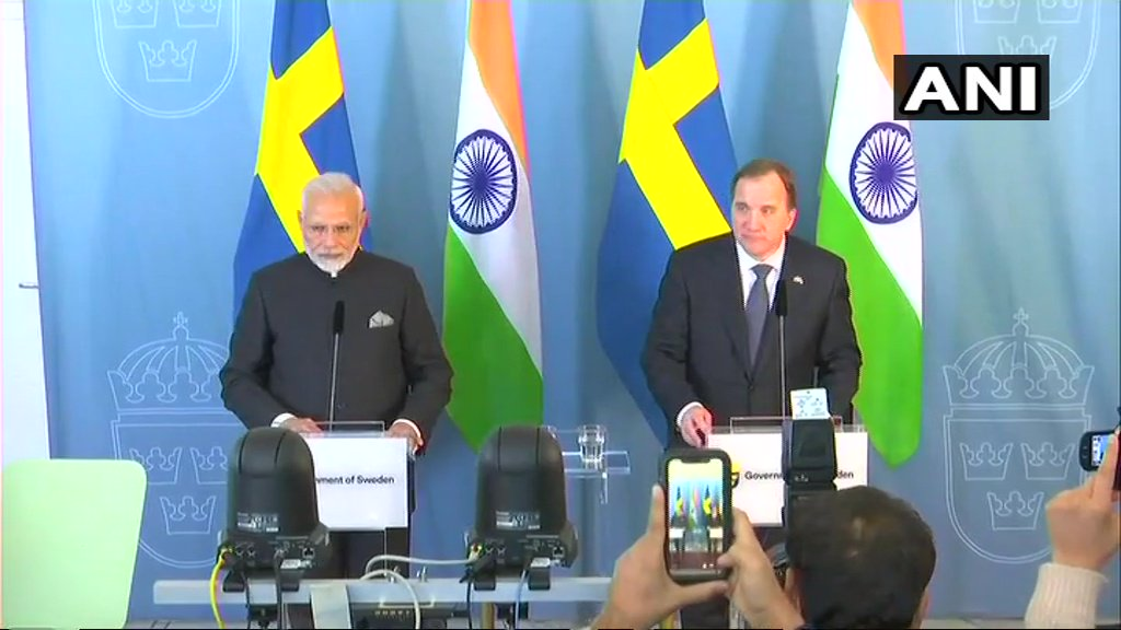 PM Modi and Swedish PM Stefan Löfven issue press statements in Stockholm