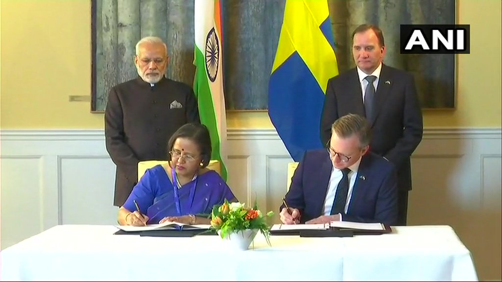 PM Modi and Swedish PM Stefan Löfven witness signing and exchange of Joint Innovation Partnership and announcement of adoption of the Joint Action Plan.