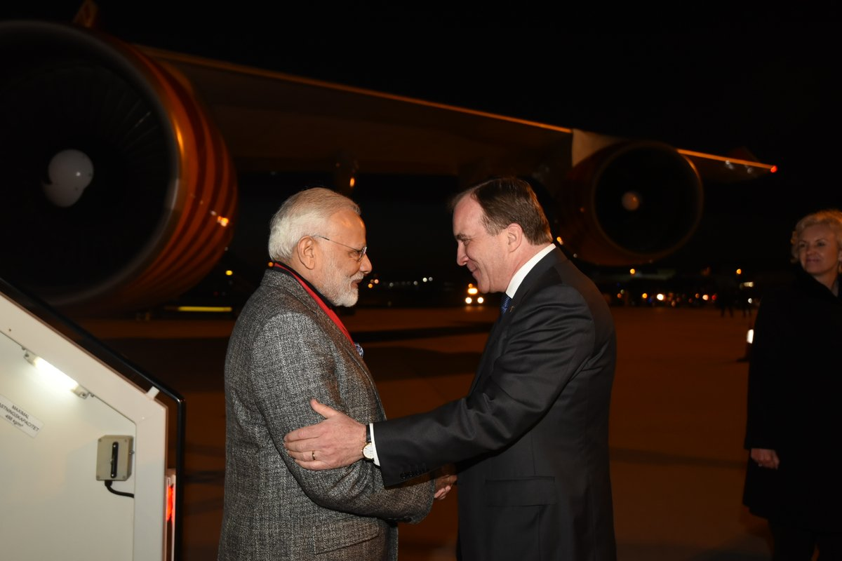 Prime Minister Narendra Modi welcomed by Swedish Prime Minister Stefan Lofven on arrival at the Arlanda Airport in Stockholm