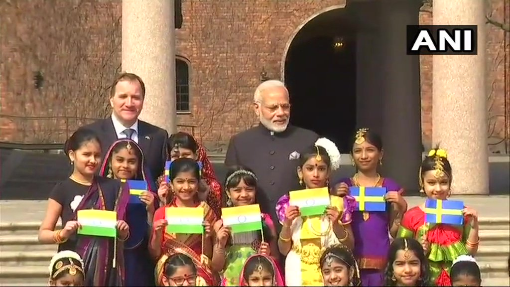Prime Minister Modi, along with Sweden's PM Stefan Löfven, met children of Indian diaspora in Stockholm.